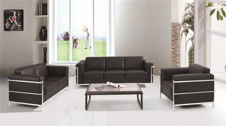 简约现代商务洽谈三人位会客接待办公室沙发茶几组合套装