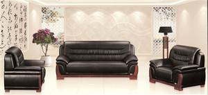 办公沙发茶几组合,三人位简约现代,商务洽谈会客真皮,办公室沙发