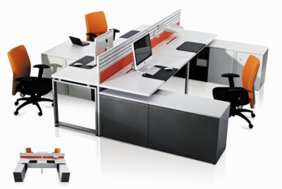职员四人位办公桌-简约现代公司办工作桌-屏风双人电脑办工桌椅组合